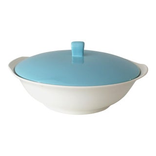 Mid-Century Danish Modern Aqua Lidded Casserole Dish For Sale