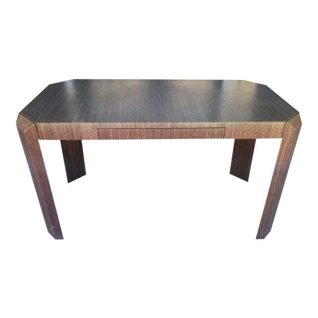 Linen Covered & Brass Details Desk For Sale