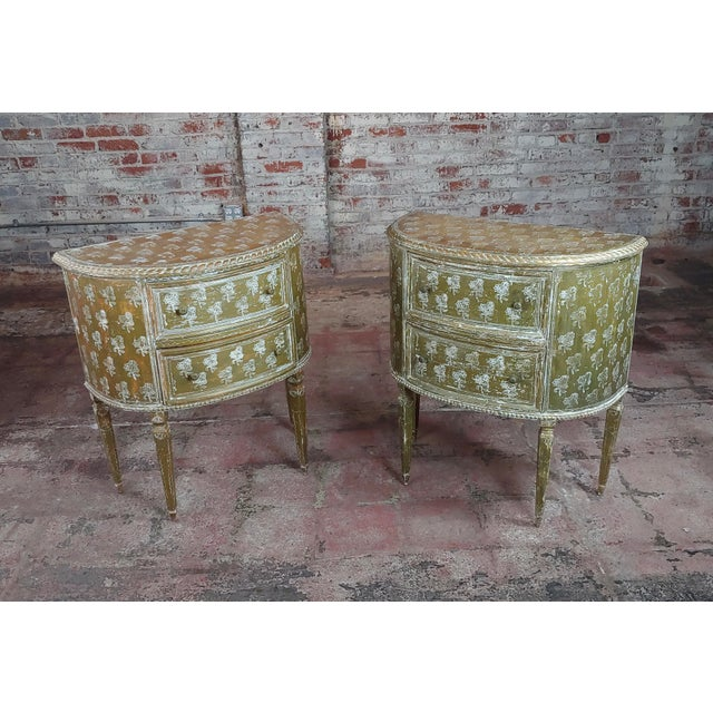 Antique Italian Florentine Demilune Gilt-Wood Commodes - A Pair For Sale - Image 10 of 10