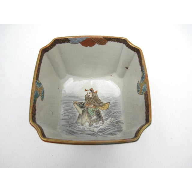 Late 19th Century Antique Japanese Square Bowl with Man Riding Fish For Sale In Portland, OR - Image 6 of 9