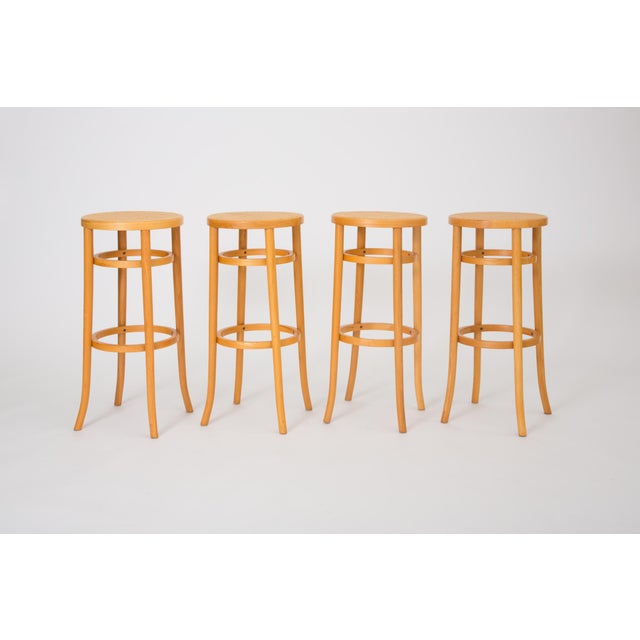Set of Four Thonet Bentwood Bar Stools For Sale In Los Angeles - Image 6 of 6