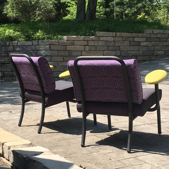 Purple 1980s 1990s Memphis Modern Style Club Chairs - a Pair For Sale - Image 8 of 13
