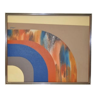 Huge Vintage Abstract Oil Painting by Gillingham C.1970s