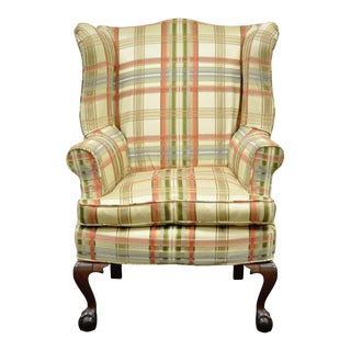 Antique Chippendale Style Mahogany Ball and Claw Fireside Wing Back Arm Chair For Sale