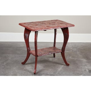 20th Century Carved Red Lacquer End Table