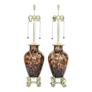 Pair of Faux Tortoise Glass Table Lamps With Brass Base For Sale