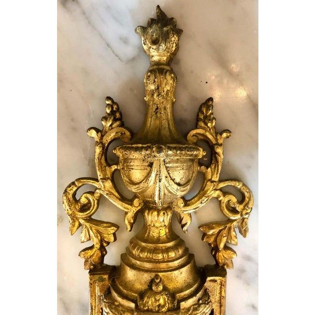 Pair of English Adam Style Brass Dore Wall Sconces Two-Light Arms For Sale - Image 10 of 11