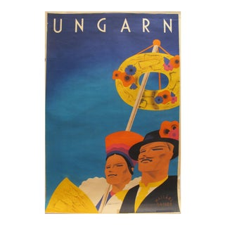 Rare Hungarian 1930s Art Deco Travel Poster, May Day Celebration For Sale