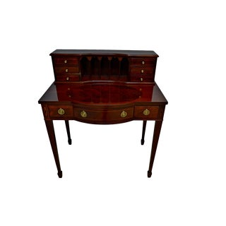 Baker Federal Style Mahogany Inlaid Writing Ladies Desk For Sale