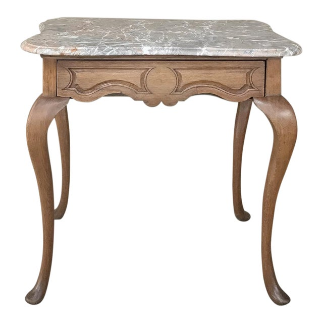 19th Century French Louis Philippe Walnut Marble Top Writing Table For Sale