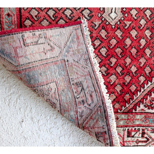 Strawberry & Mint Vintage Persian Rug - 3′3″ × 4′11″ - Image 5 of 5