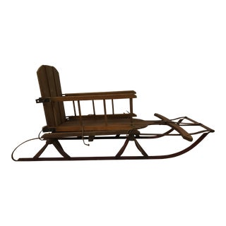 1957 Vintage Wood Baby Sled With Seat For Sale