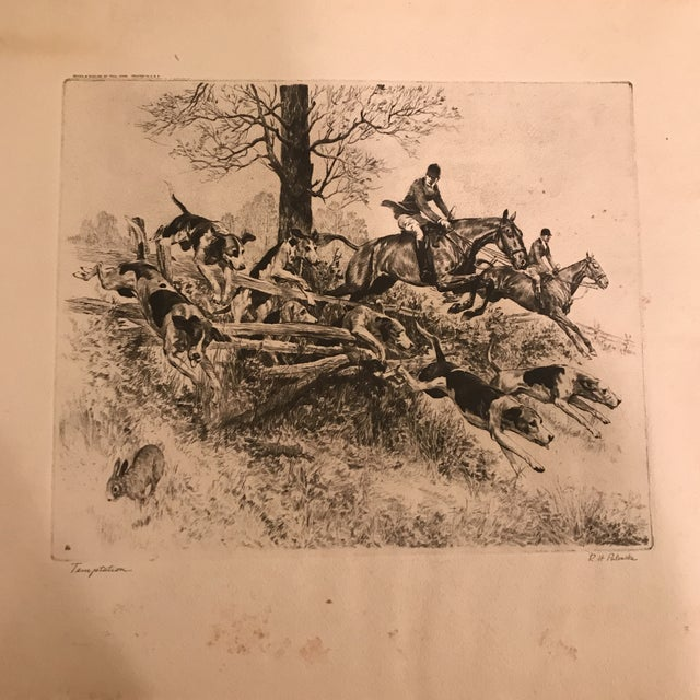 "Printmaking Materials R.H. Palenske ""Temptation"" Hunt Scene Print For Sale - Image 7 of 11"