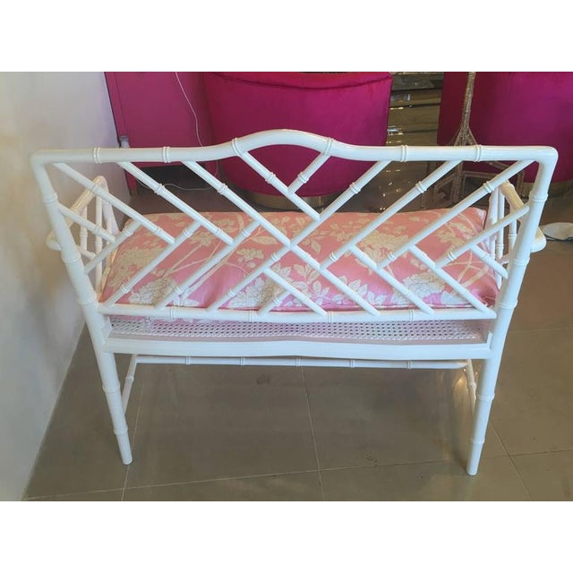Chinese Chippendale Faux Bamboo Lacquered Pink Cushion Arm Bench For Sale - Image 5 of 12