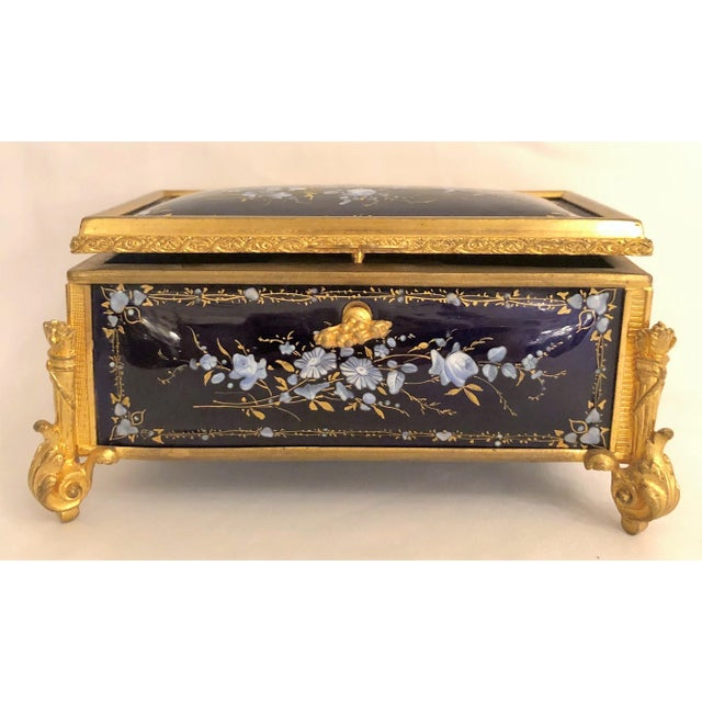 Late 19th Century Antique French Delicate Cobalt Enamel Jewel Box, Circa 1870-1890. For Sale - Image 5 of 5