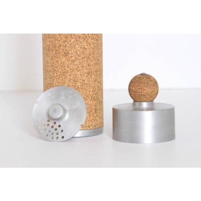 Machine Age Art Deco Cocktail Shaker Spun Aluminum & Cork For Sale - Image 4 of 11
