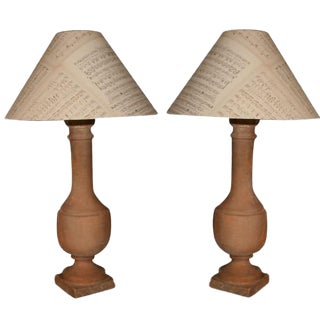 Terracotta Balusters Mounted as Lamps With Antique Music Sheet Shades - a Pair For Sale