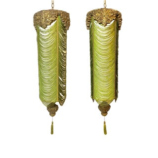Vintage Mid Century Hanging Reglor of California Swag Lamps - a Pair For Sale