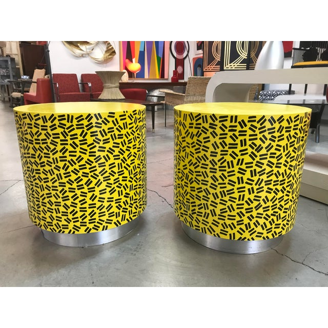 Wood Pop Art Post Modern Cylinder Side Tables -A Pair For Sale - Image 7 of 7