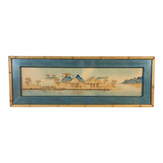 Mid-Century Asian Scene Rattan Picture For Sale