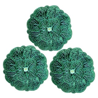 Mid-20th Century Portuguese Cabbage Plates - Set of 3 For Sale