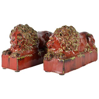 20th Century Oxblood and Celadon Glazed Ceramic Resting Lions - a Pair For Sale