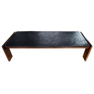 Mid-Modern Brutalist Slate and Solid Walnut Coffee Table by Adrian Pearsall For Sale