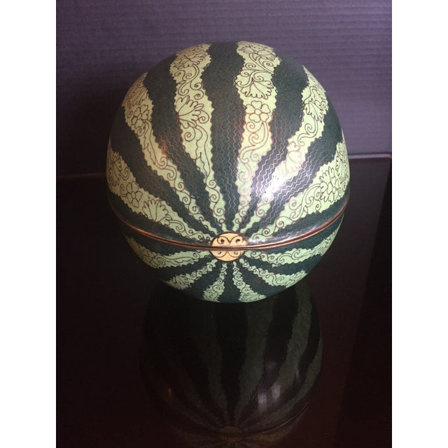Early 20th Century Antique Chinese Cloisonné Watermelon Melon Box For Sale - Image 4 of 11