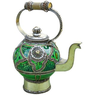 Moroccan Ceramic Kettle W/ Fine Filigree For Sale