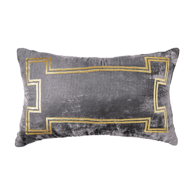 Aria Pewter Velvet Lumbar Pillow With Gold Foil Accents For Sale