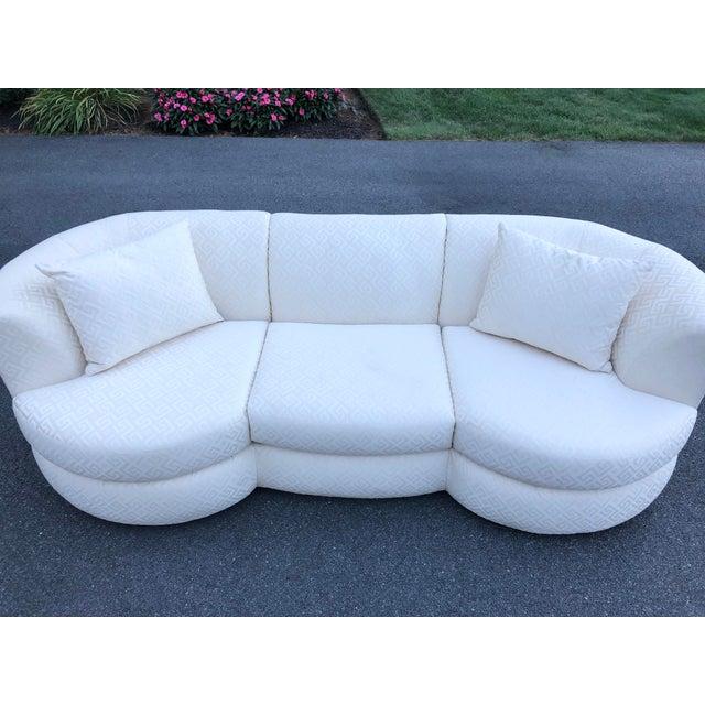 Stunning Mid-Century Modern Vladimir Kagan for Weiman three seat designer sofa in original high quality ivory greek key...