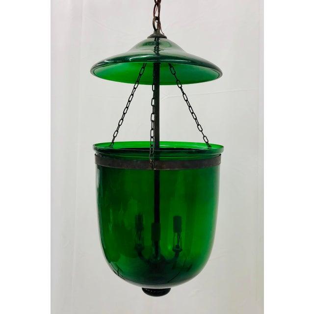 Stunning Traditional Green Glass Belljar Hurricane Lantern Pendant Chandelier. Two Pieces. Original finish fittings wiring...