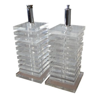 Fabulous Pair of Mid Century Modern Stacked Lucite Lamps For Sale