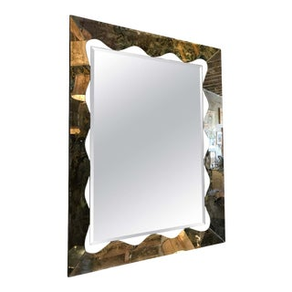 Large Scalloped and Beveled Eglomise Mirror For Sale