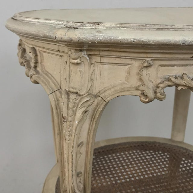 Wood 19th Century French Louis XVI Painted Oval End Table For Sale - Image 7 of 13