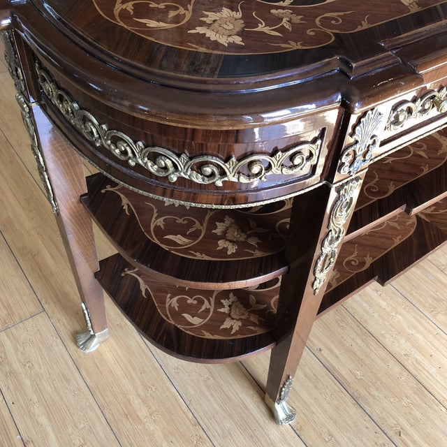1970s Wooden Inlay Marquetry Petite Console Table With Brass Feet** For Sale - Image 5 of 13