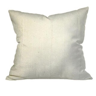 African Solid White Mudcloth Pillow For Sale