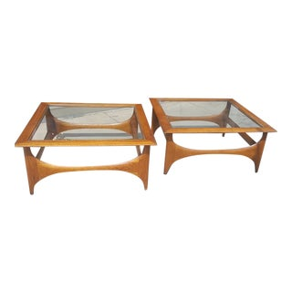 Adrian Pearsall for Lane Walnut and Glass Square Sculptural Tables a Pair For Sale