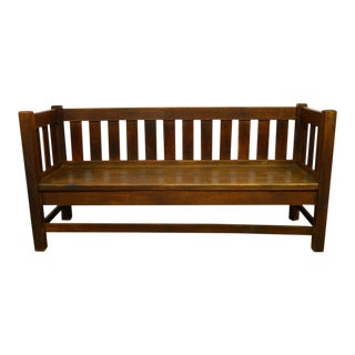 Antique Mission Arts & Crafts Solid Oak Bench For Sale