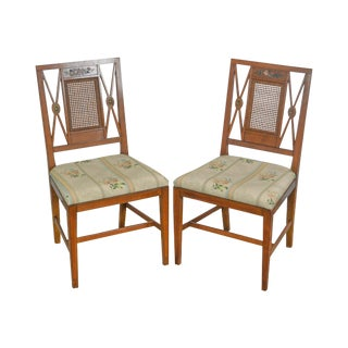 Schmieg & Kotzian Vintage Pair of Adams Painted Caned Side Chairs For Sale