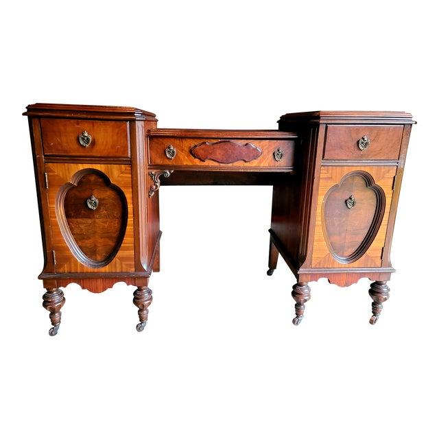 Antique Regency Burl Veneer Marquetry Console Table/ Vanity For Sale