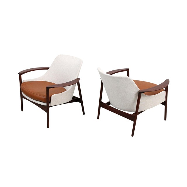 Kofod-Larsen for Selig Sculptural Walnut Lounge Chairs - a Pair For Sale - Image 13 of 13