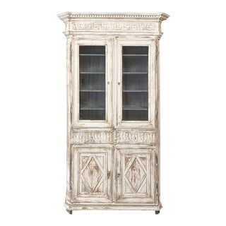 19th Century French Neoclassical Grand Painted Bookcase For Sale