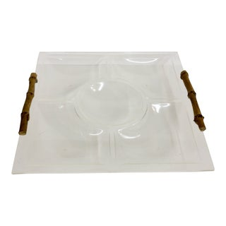 Mid 20th Century Lucite Tray With Bamboo Handles For Sale