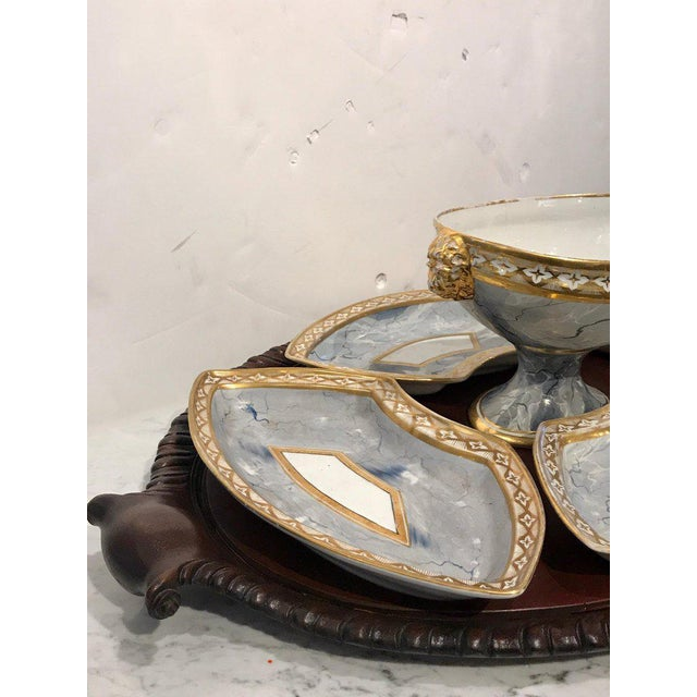 Gold Antique Derby Marbleized Supper Set on Georgian Mahogany Tray For Sale - Image 8 of 13