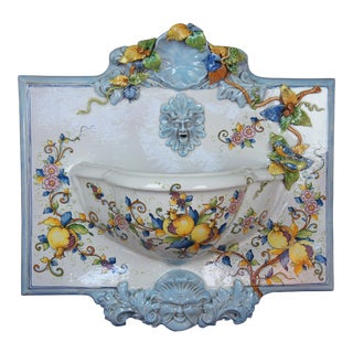 Mid 20th Century Italian Polychrome Ceramic Wall Fountain For Sale
