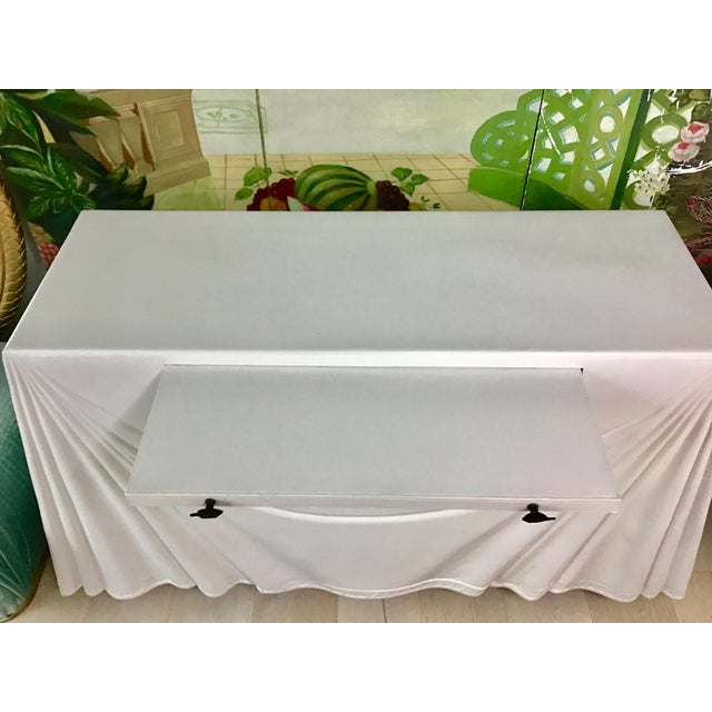 1980s Hollywood Regency Lacquered Parchment Trompe L'Oeil Drapery Console For Sale - Image 10 of 12