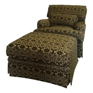 Baker Club Green Velvet Patterned Chair & Ottoman