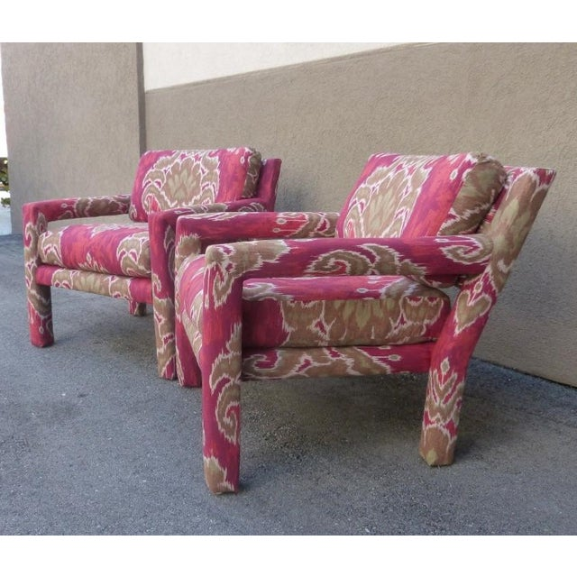 Pair of 1970's Parsons Chairs Covered in Ikat Fabric For Sale - Image 4 of 7