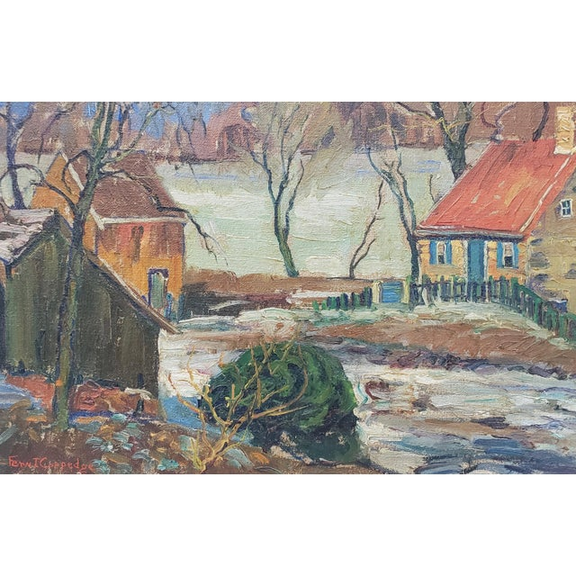 """Fern Coppedge (American, 1883-1951) """"Winter - New Hope"""" Original Oil Painting C.1920 For Sale - Image 4 of 9"""